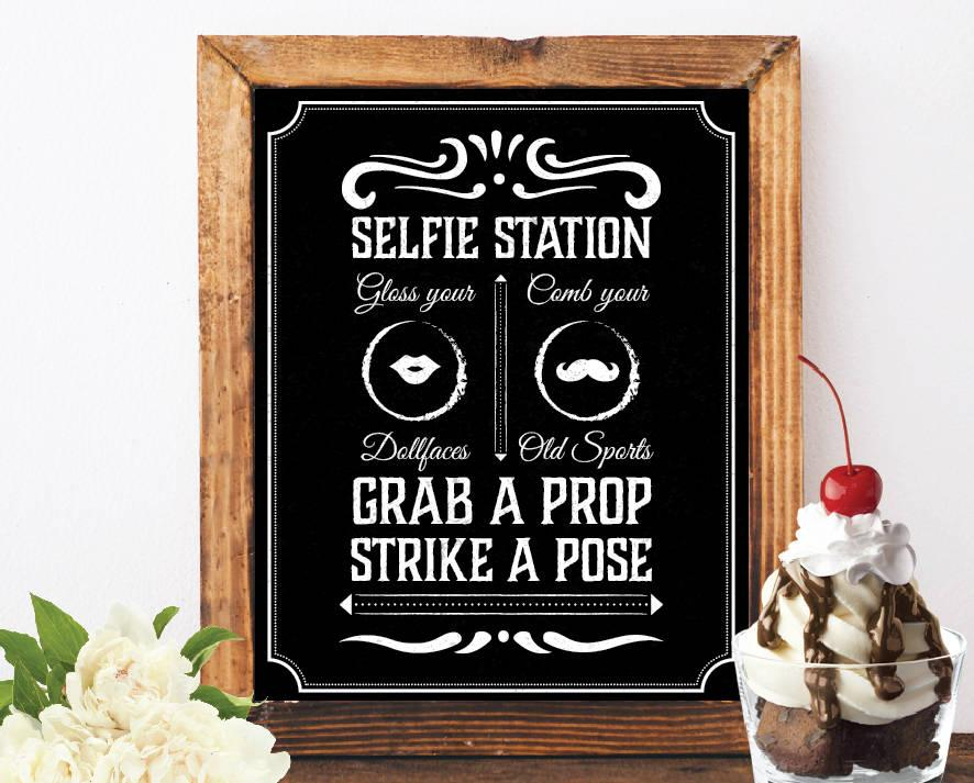 Hochzeit - Photo booth selfie station sign grab a prop and strike a pose sign art deco photo booth jack daniels photo booth sign chalkboard signs booth