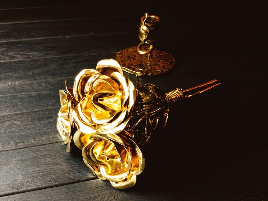 Hochzeit - Bronze bouquet, bronze anniversary bouquet, 8 year wedding gifts, bronze sculpture, bronze flowers, 8th anniversary gift, bronze, flowers