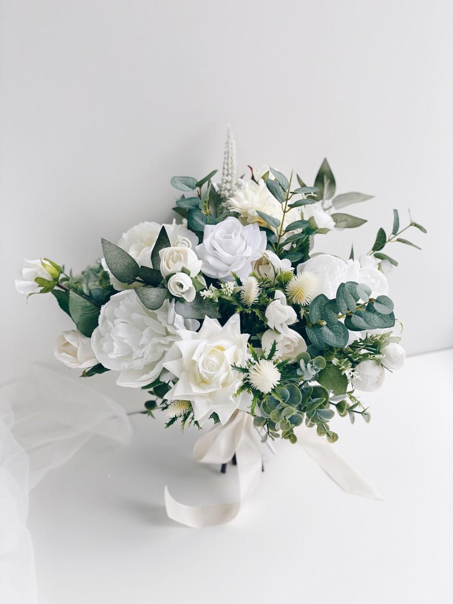 Свадьба - Wedding bouquet, White Bridal Bouquet, White Peony Bouquet, Wedding flowers, Eucalyptus wedding bouquet, Silk flower Bouquet, Bridesmaids