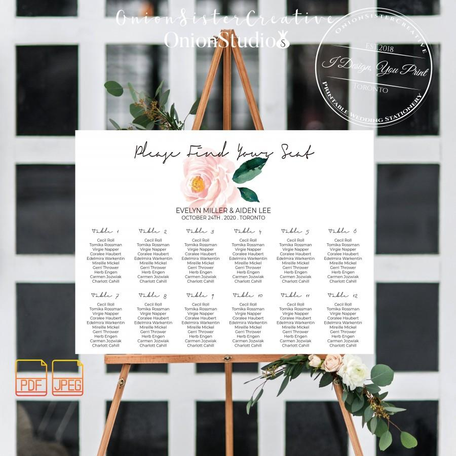 Wedding - Boho Wedding Seating Chart Sign,Pink Watercolor Peonies Wedding Signage,Rustic Wedding Find Your Seat Sign,Wedding Seating Arrangement