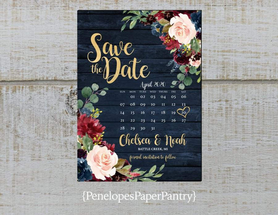 Wedding - Elegant Rustic Navy Floral Fall Wedding Save The Date Card,Calendar,Burgundy,Blush,Navy Blue,Roses,Gold Print,Shimmery,Printed Card