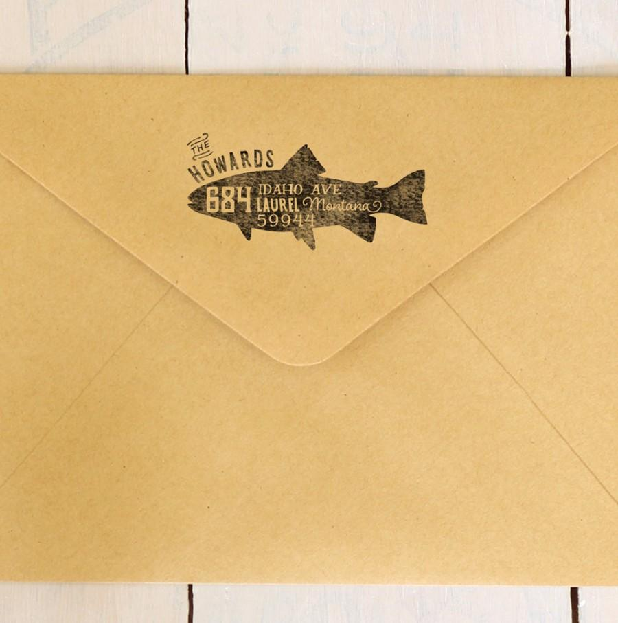 Wedding - Fish Return Address Stamp Trout Stamp Custom Rubber Stamp Personalized Gift Pisces Address Stamp Pisces Zodiac Stamp Fisherman Gift for Him