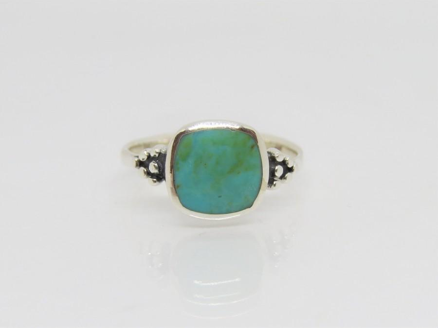 Hochzeit - Vintage Western Sterling Silver Turquoise Ring Size 10