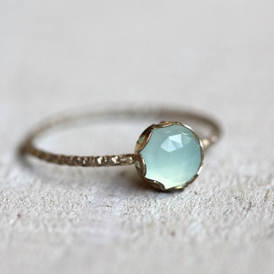 زفاف - Blue chalcedony gemstone ring