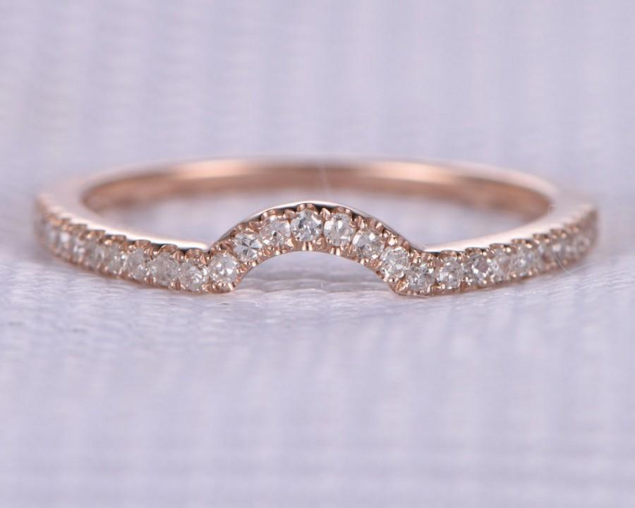 زفاف - French Pave Natural Diamond Wedding Ring Anniversary Ring Curved 14k Rose Gold Half Eternity Matching Band Personalized for her/him Custom