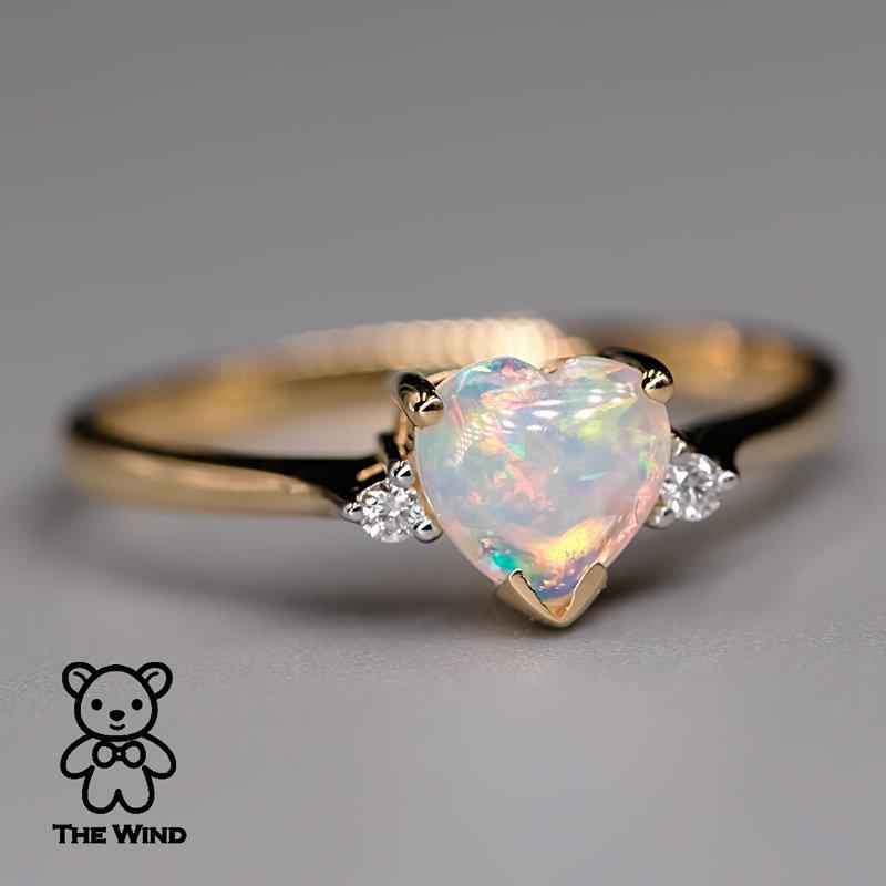زفاف - Heart Shaped Australian Solid Opal & Diamond Engagement Ring 18K Yellow Gold Promise Ring for Couples Three Stone Band