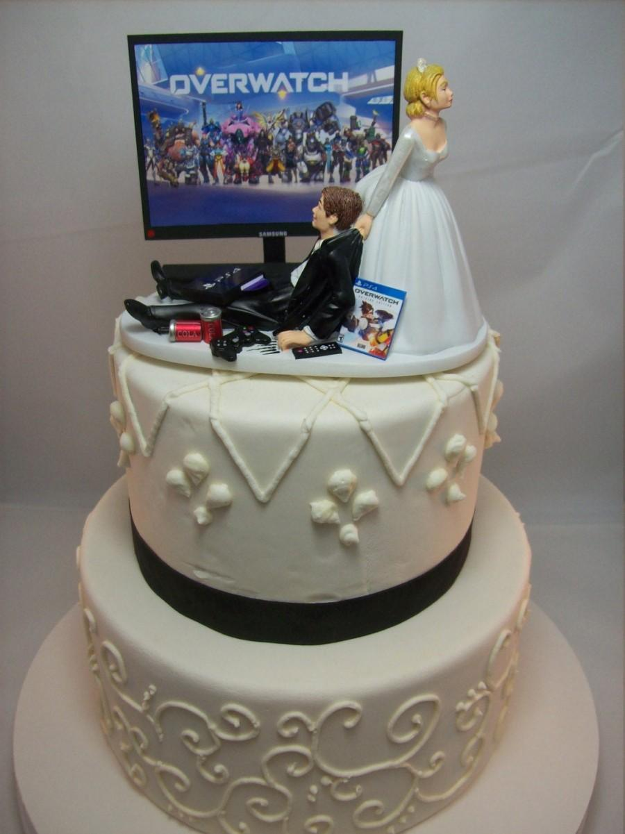 Hochzeit - GAMER Funny Wedding Cake Topper OVER Video Game Gaming Junkie Addict Charming Rehearsal Groom's Shooter Bride and Groom