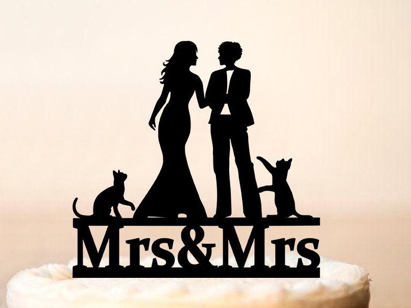 Wedding - Lesbian wedding cake topper with two cats,wedding cake topper with pets,Lesbian+cats,cats,Cake topper with lesbian silhouette (0186)