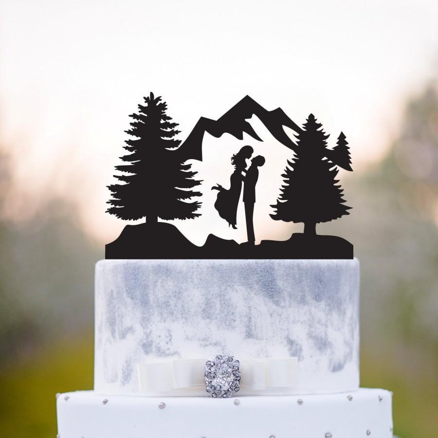 Mariage - Mountain wedding cake topper,mr mrs wedding cake topper,Outdoor wedding cake topper,Bride and groom topper,forest wedding cake topper,a77