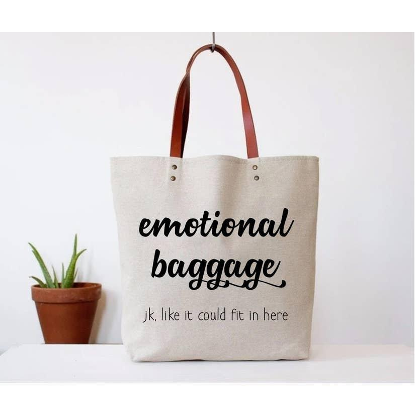 Hochzeit - Emotional Baggage Canvas Tote Bag. Funny Tote Bags for Work and Travel.