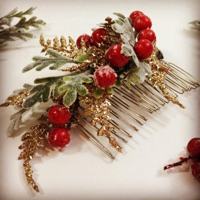 Hochzeit - Christmas Floral Comb - Christmas Hair Comb - Christmas Hair Piece - Berry Hair Comb - Christmas Wedding Comb - Christmas Headpiece