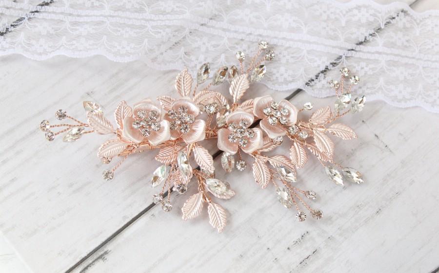 Hochzeit - Annabelle Rose Gold Bridal Hair Clip-Blush Rose Gold Bridal Hair Comb-Crystal Silver Hair Clip-Wedding-Bridal Hair Accessories