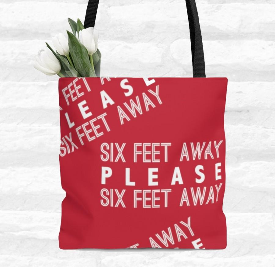 Hochzeit - Six Feet Away Please - Tote Bag, Grocery Bag, Travel Bag, Birthday Gift, Travel Gift, Gift for Her, Quarantine Life