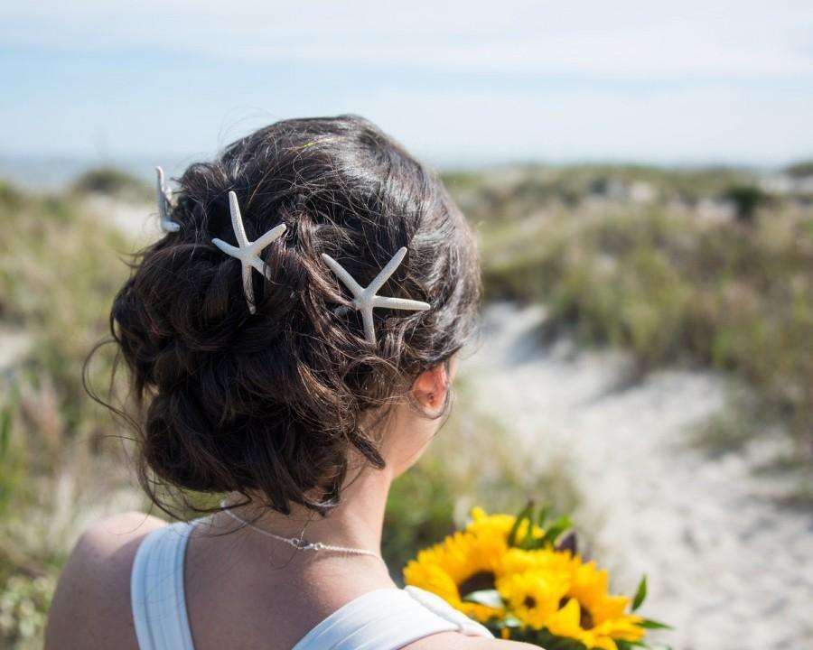 Hochzeit - Starfish Barrette, Mermaid Costume, Beach Wedding, Mermaid Party, Halloween Mermaid Wedding, Starfish Hair Pins, Mermaid Hair Pins, Bridal