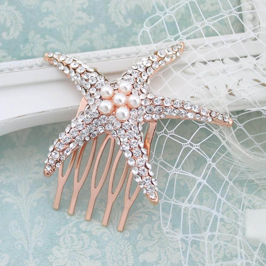 Hochzeit - Bridal Starfish Comb, Rhinestone Rose Gold Headpiece, Beach Wedding Hair Accessory, Crystal Pearl Bridal Hair Piece, Wedding Rose Gold Combs