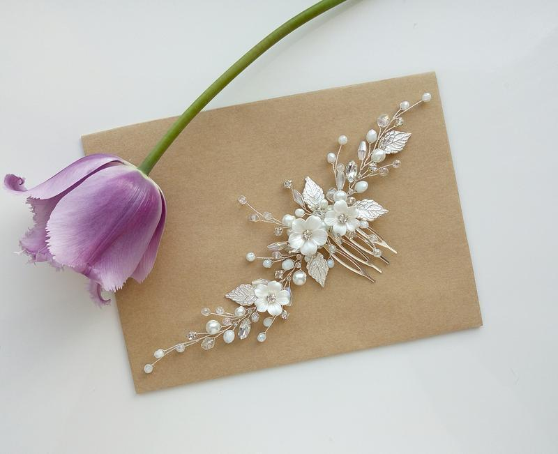 Wedding - Flower Bridal Hair Pieces, White Hair Pins, Wedding Hair Comb, Wedding Hair Accessory, Bridal Hair Vine, Blue Hair Piece, Bridal Hair Vine