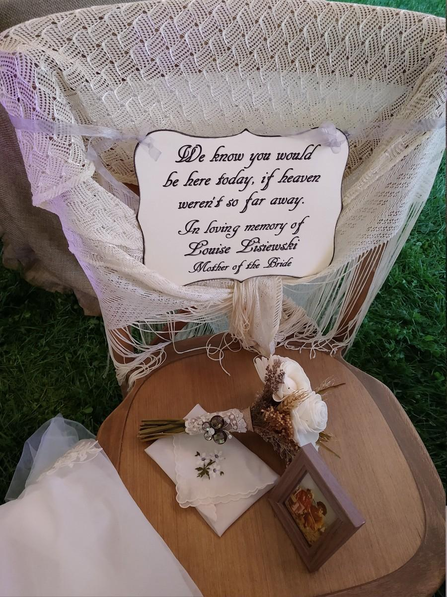 Hochzeit - Memorial Chair Sign - Rememberence - Honoring Loved Ones - In Loving Memory - Family - Relatives - Reserved Seating