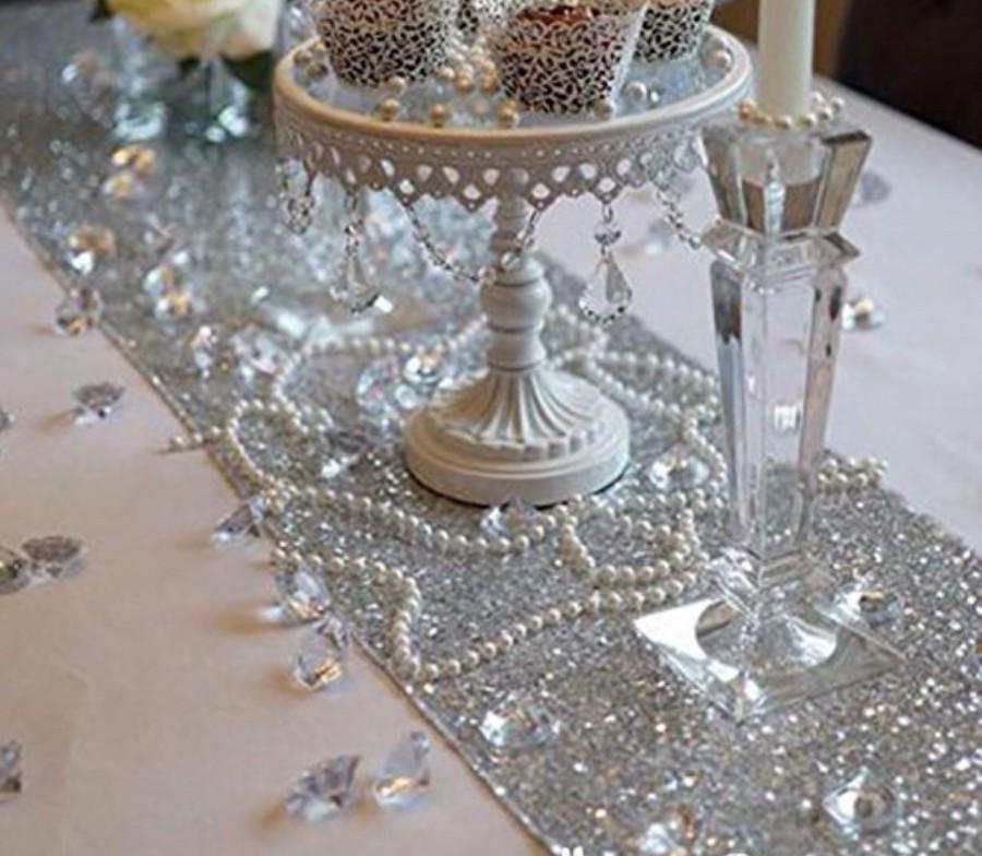 Wedding - Sparkly Silver Christmas Sequin Table Runner, Sequin Linen, Sequin Runner, Silver Table Runner, Silver Sequin Linen,