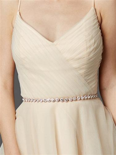 Hochzeit - Mariell Blush Rose Gold Crystal Rhinestone Wedding Bridal Sash Belt with Ribbon