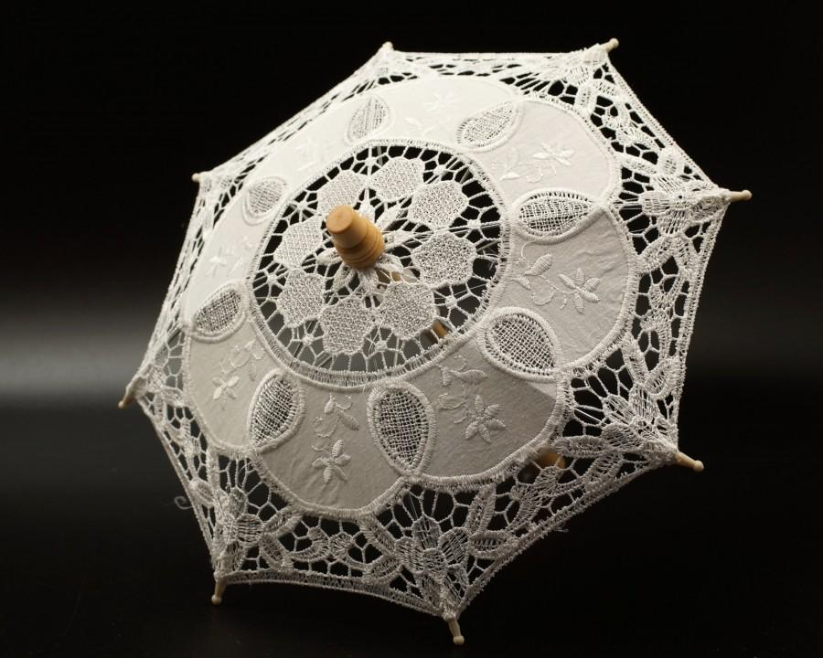 """Hochzeit - Mini Lace Parasol Wedding in White or Ivory, 11.5"""" Victorian Lace Parasol for Wedding Ceremony Decoration, Bridal Shower Party Gift"""
