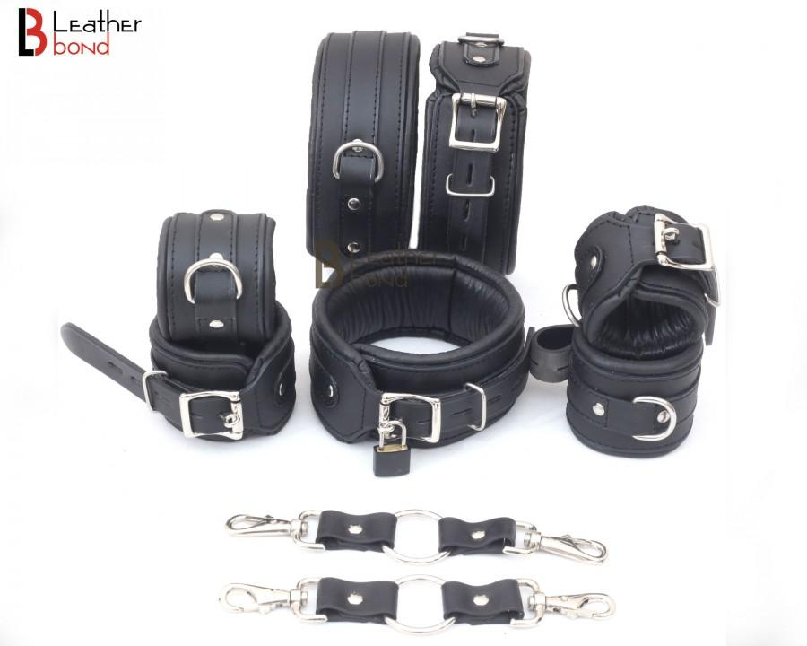 Свадьба - Real Cow Leather Wrist, Ankle Thigh Cuffs Collar Restraint Bondage Set Black 8 Piece Padded Cuffs