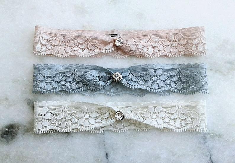 Wedding - Lace Wedding Garter, Dusty Blue Stretch Lace Bridal Garter, Blush Pink Garter, Ivory Garter, Silver / Gold / Black / Rose Gold Garter