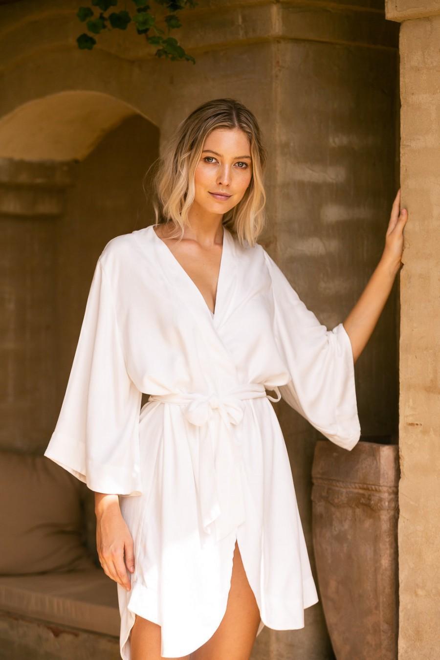 Mariage - Bridal Robe, Plain Ivory, Luxurious Kimono Robe