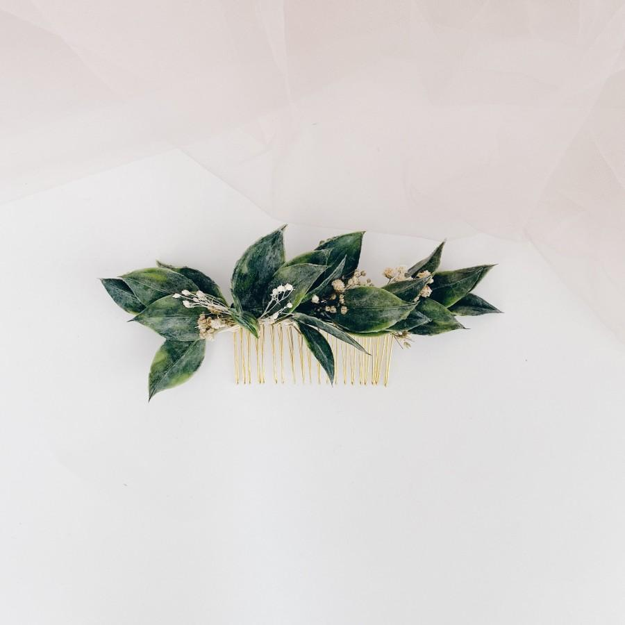Hochzeit - Greenery hairpiece, faux greenery hair comb, white and greenery headdress, leaf hair comb, greenery clip