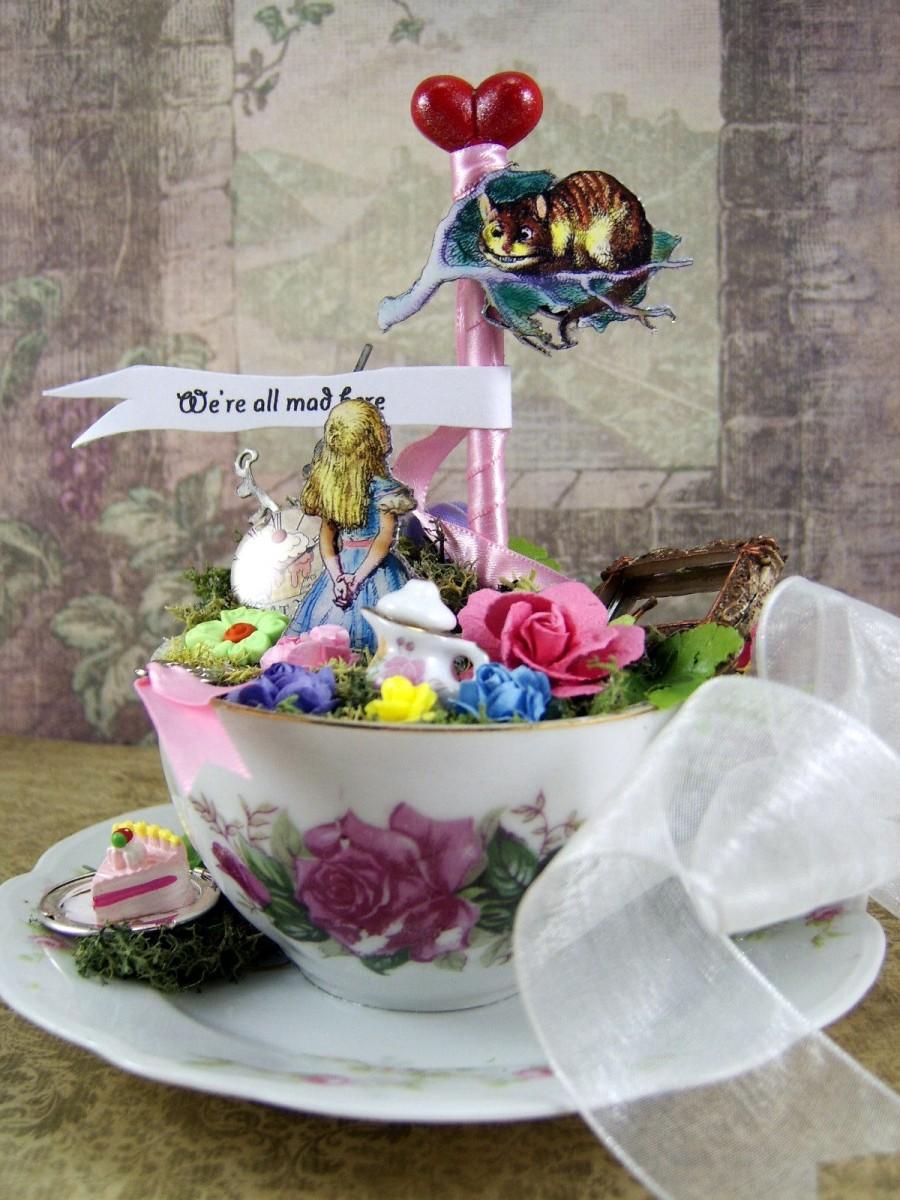 Hochzeit - Alice in Wonderland Teacup Cake Topper or Centerpiece, Mad Tea Party Wedding Theme, Birthday Decor