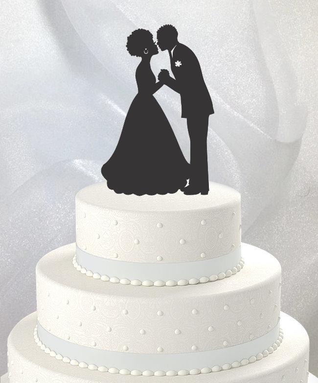 Свадьба - Afro, Wedding Cake Topper, Bride and Groom Holding Hands, Kissing, Acrylic [CT70]
