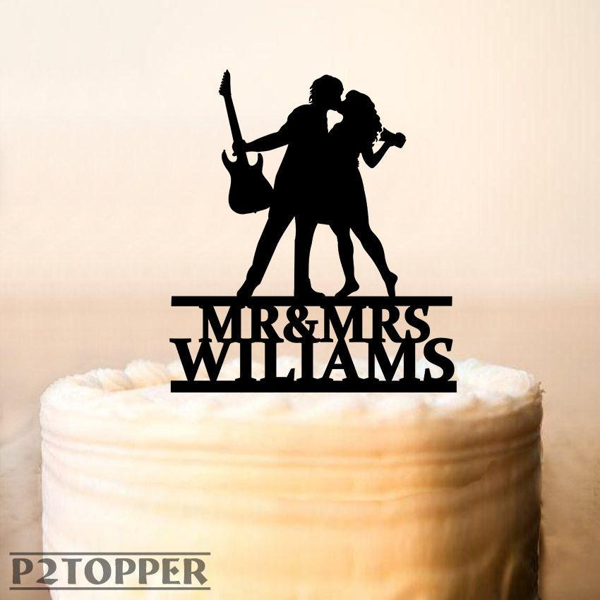 Mariage - Guitar Player Cake Topper,Musician and bride photographer silhouette,Musician Wedding Cake Topper,Music Wedding Cake Topper (0294)