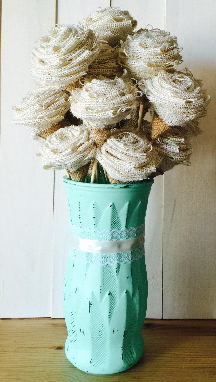 Свадьба - Burlap Roses with Stems, Burlap Flowers on Stem, Bouquet Flowers, Decorative Flowers - SET of 5