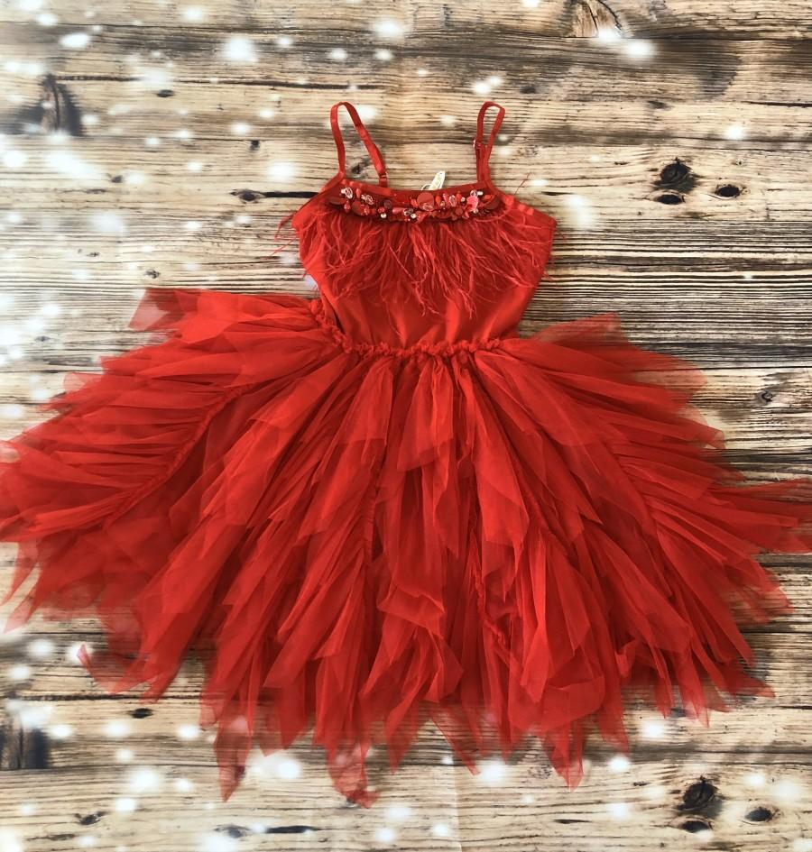 Hochzeit - Red flower girl dress,  Feathers top,Baby  toddler dress,tulle and feathers  flower girl dress, red party dress