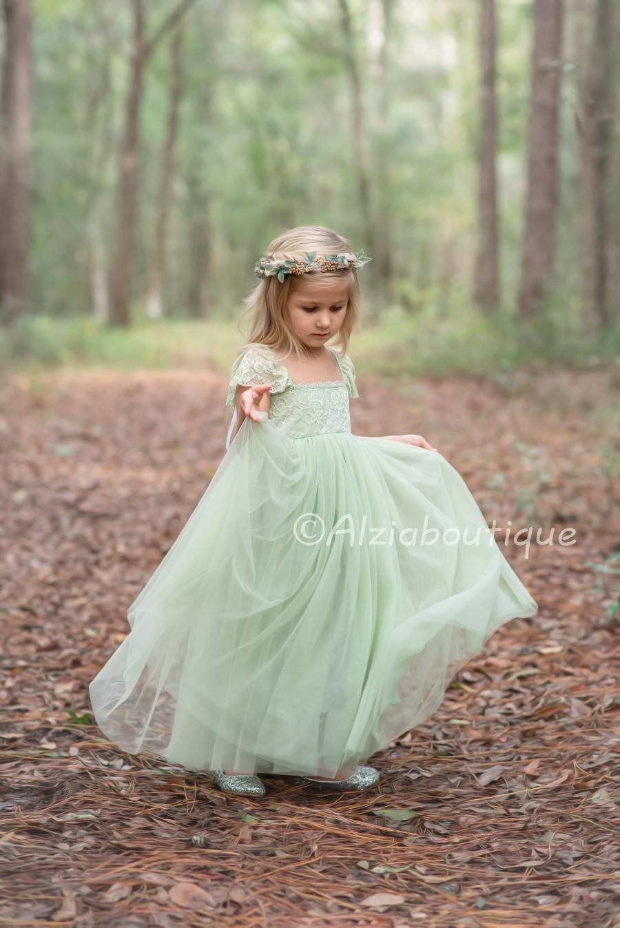 Light Green Pastel Jade Tulle Lace Party Dress, Flower Girl Dress ...