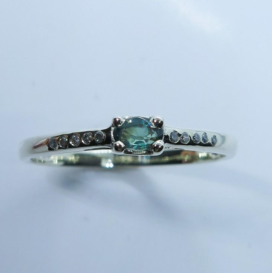 Mariage - Natural Alexandrite colour change & diamonds 925 Sterling silver / 9ct 14k 18k 375 585 750 white yellow rose Gold/ Platinum engagement ring