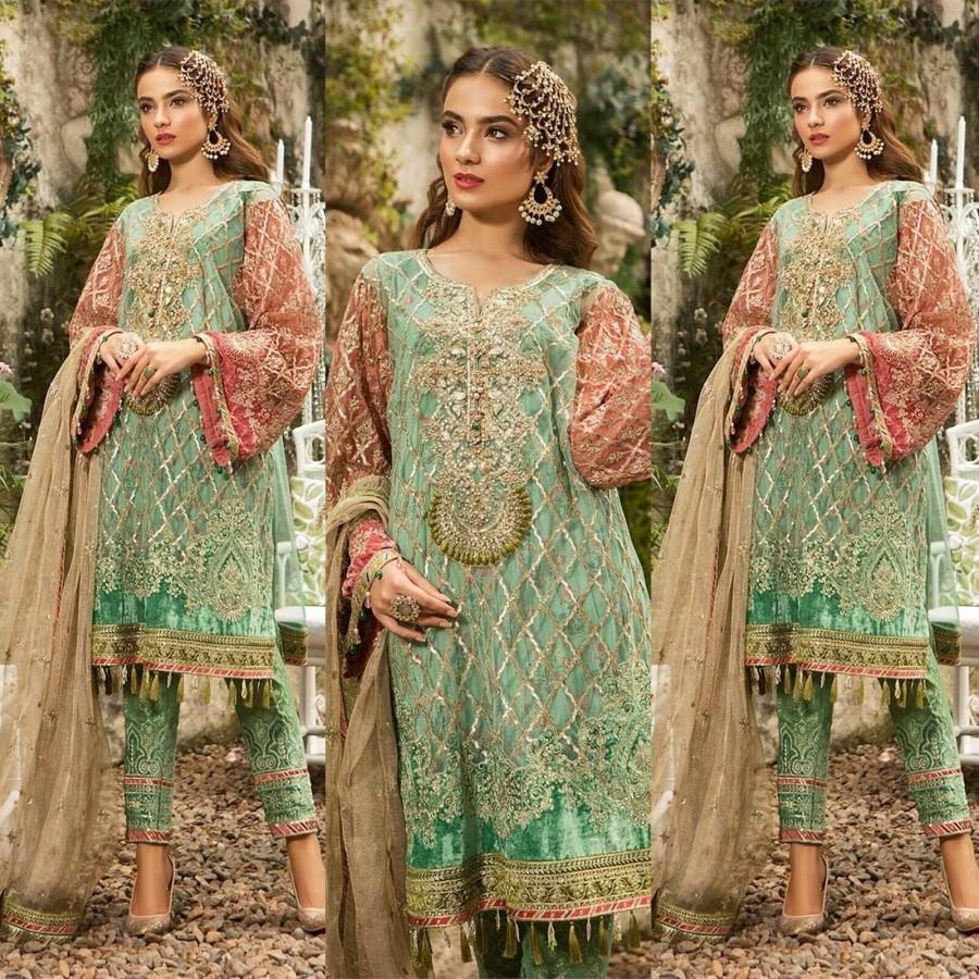 Made To Order Pakistani Wedding Dresses, Indian Dress, Green Beige ...