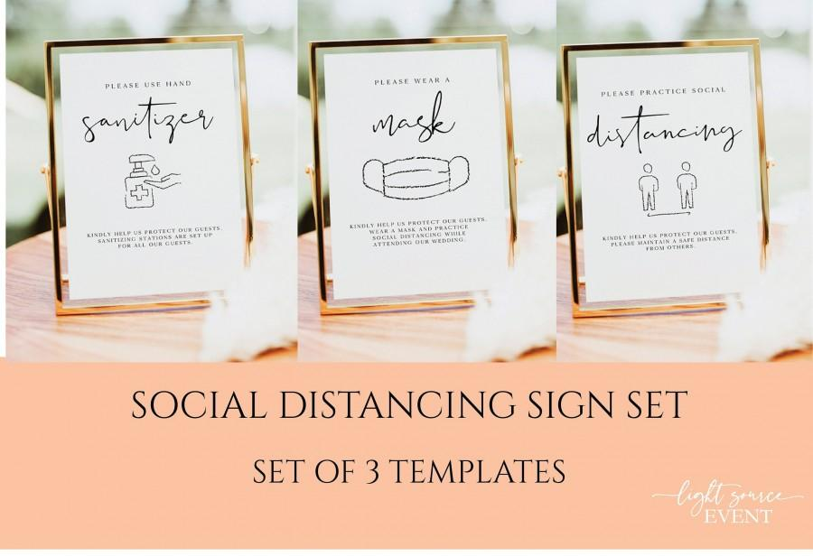 Свадьба - Social Distance Set of 3 Wedding Sign Template, Hand Sanitizer Sign, Wear a Mask Sign, Practice Social Distancing Instant Download, 0506_057