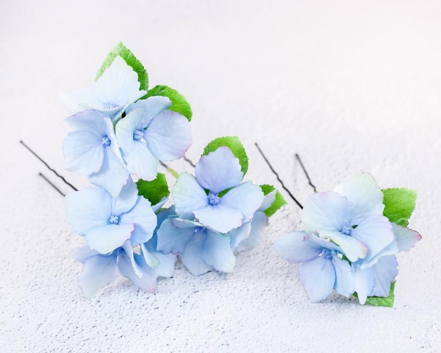 Wedding - Hydrangea hair pins Set of 4 hair pins Blue hydrangea Floral bridal hair pin Wedding hair jewelry Hydrangea Accessories Hydrangea hair piece