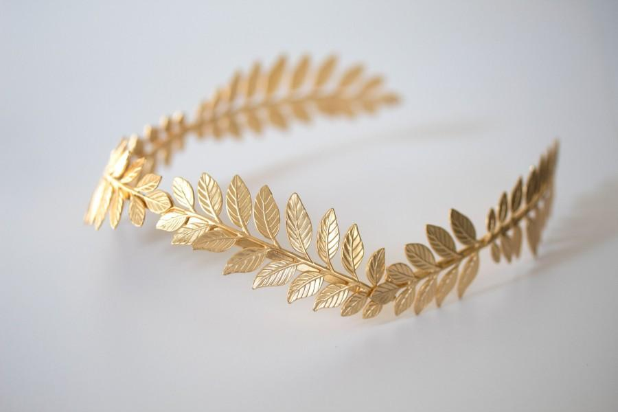 Wedding - Greek Goddess Hair Vine Tiara, Boho Bridal Headpiece, Gold Laurel Leaf Headband, Grecian Crown, Sweet 16 Quinceanera Birthday For Princess