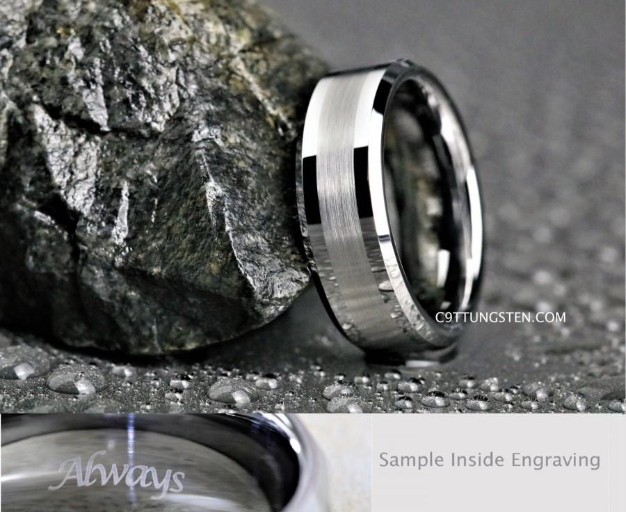 Свадьба - 8MM Mens Beveled Silver Tungsten With Brushed Center Wedding, Engagement, Anniversary Ring, Custom Laser Engraved Inside