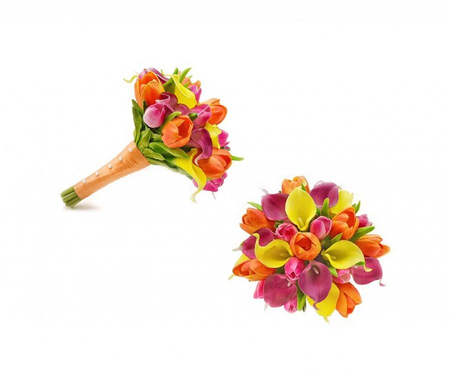Свадьба - Real Touch Artificial Calla Lilies Tulips Bridal Bouquet Bridesmaids Bouquets Prom Wedding Arch Flowers Centerpiece Arrangement