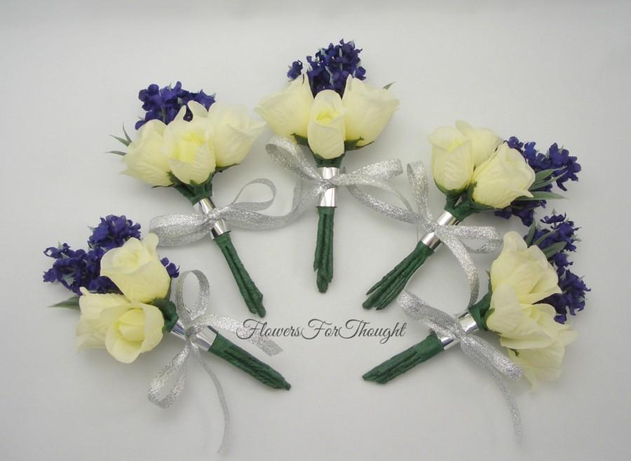 Hochzeit - Lavender and Rose Boutonniere, Mens Buttonhole Flower, Groomsmen Wedding Decoration, Lapel Pin made to order