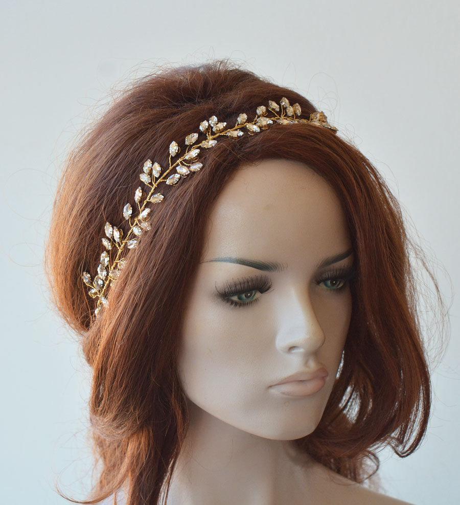 Wedding - Wedding Headband, Crystal Bridal Headpiece, For Bride, Hair Piece Crown, Halo Hair Vine, Rhinestone, Gold, Silver, Hair Band, Hair Wreath
