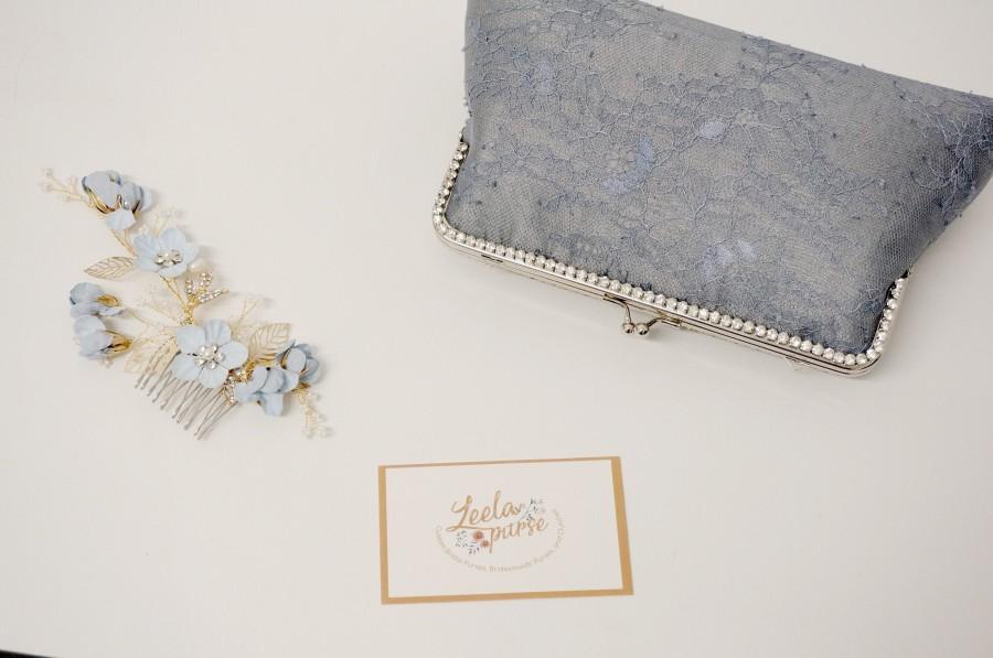Свадьба - Dusty Blue Rhinestone Evening Clutch Bag / Blue Grey Silk Handbag / Silver wristlet / Bridal Clutch