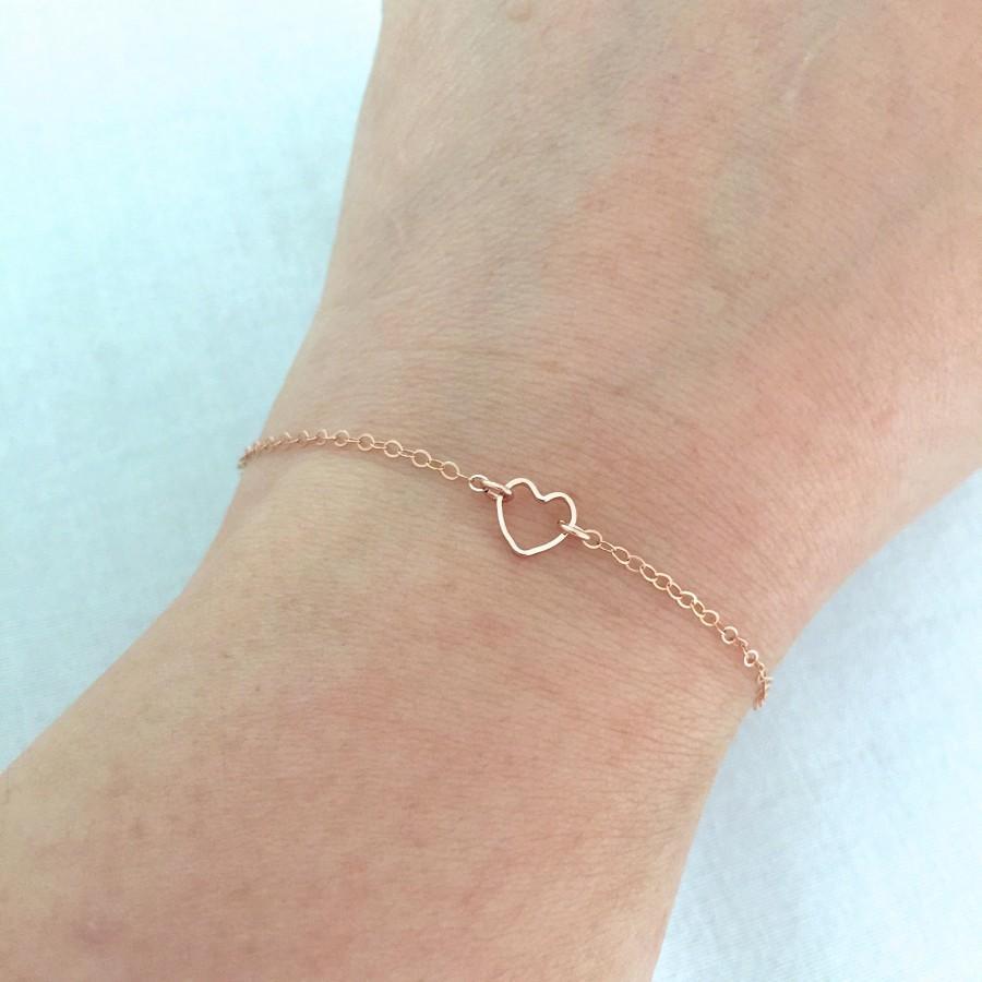 Hochzeit - Tiny Rose Gold Heart Bracelet, Little Girl Bracelet, Bridesmaid Jewelry, Gift for Her, Valentine's Gift, Sister Jewelry, Baby Bracelet