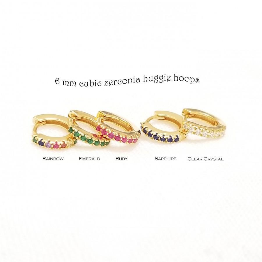 Свадьба - 6 mm Huggie Earrings, Tiny Huggie Earrings, Rainbow Earrings, Emerald Hoop Earrings, Minimalist Earrings, Hoop Earrings, CLEO EARRINGS