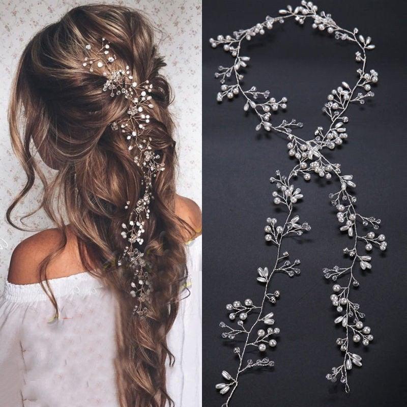 Свадьба - Long Silver Bridal Hair Vine Wedding Hair Accessory White Pearl Crystal and Rhinestone Handmade  Wedding Hair Vine, Bridal Hair Jewelry