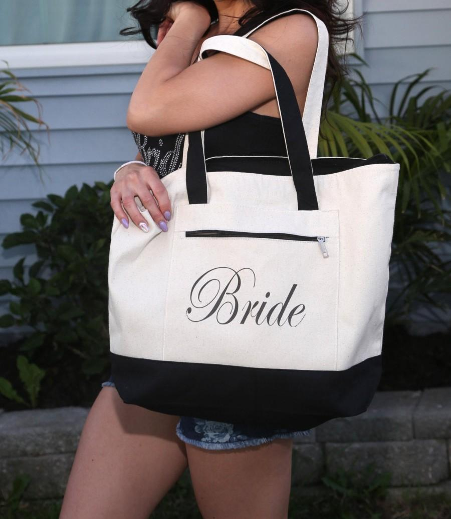 Mariage - Bride Tote Bag: Heavy Canvas Zippered  Tote Bag, Bridal Shower Gift, Bachelorette Party, Engagement, Carryall, Tote Bag
