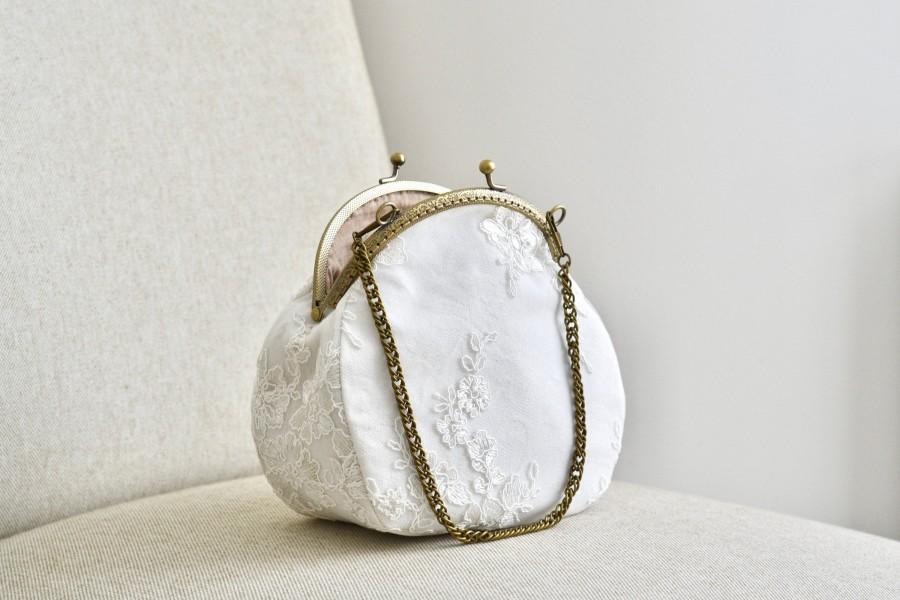 Свадьба - Bridal handbag, pocket, vintage, retro, lace, ivory, wedding accessory, bohemian, bronze, ceremony