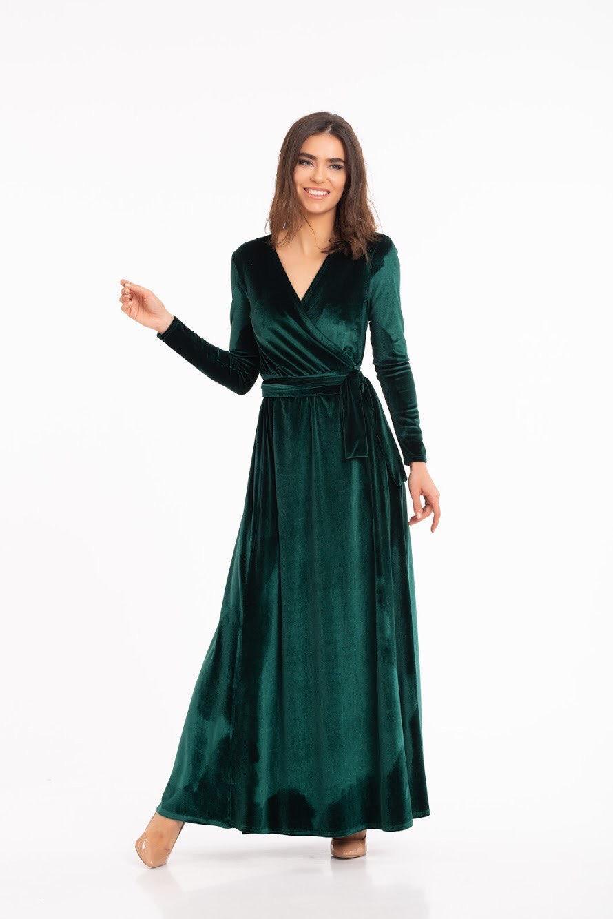Emerald Green Velvet Dress Long Sleeve Velvet Dress Wrap Maxi Dress Bridesmaid Wrap Gown Velvet Bridesmaid Dress 2977146 Weddbook